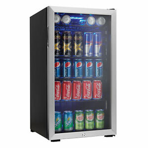 Danby-120-Can-Beverage-Center-Soda-Beer-Bar-Mini-Fridge-Cooler-Stainless-Steel