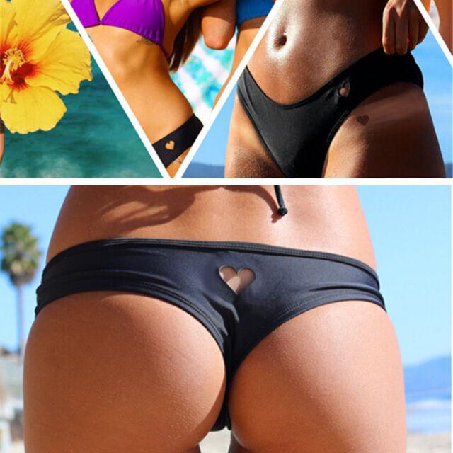 Womens Girls Sexy Bikini Bottom Swimwear Brazilian Thong Heart Cut Out Bottoms
