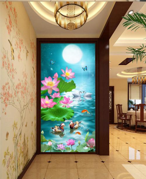 3D Mondschein Teich 7 Fototapeten Wandbild Fototapete Bild Tapete Familie Kinder