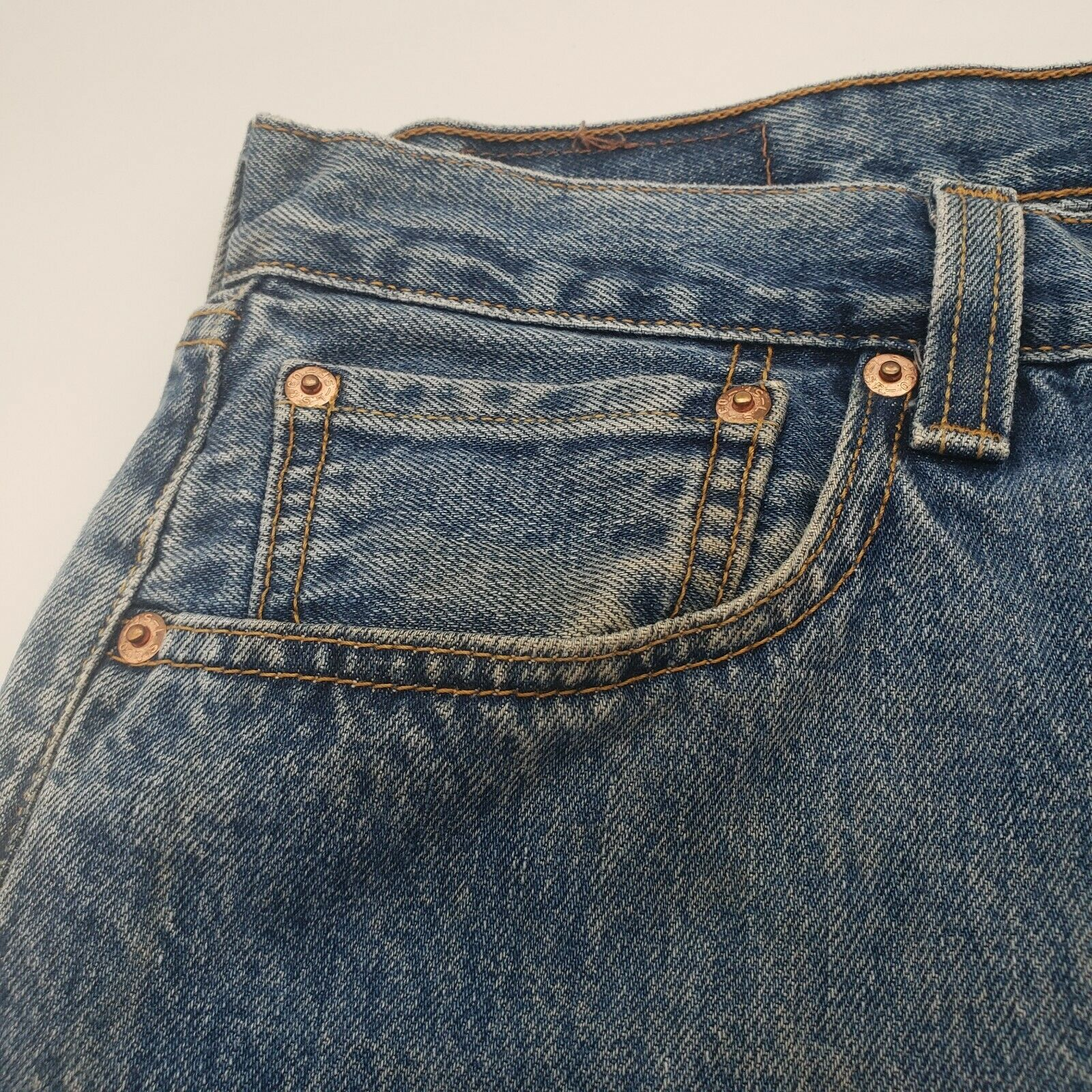 Levis 501 Button-Fly Mens 35x30 Well Worn Faded D… - image 8