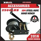 2500LBS/1136KGS Hand Winch Steel Cable 4WD Boat Trailer Manual Winch Black XBULL