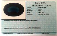 EGL USA CERTIFIED NATURAL SAPPHIRE DARK BLUE OVAL CUT 0.90 CT GENUINE GEMSTONE