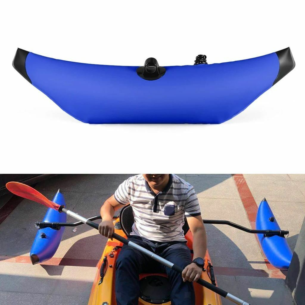 Kayak PVC Inflatable Outrigger Fishing Boat Standing Float Stabilizer bluee