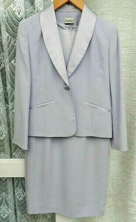 ( Ref 5208 )Viyella - Size 8/10 - Lilac Short Sleeve Dress & Jacket Suit Wedding
