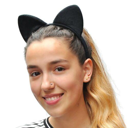 BLACK Tessuto Morbido Orecchie da gatto su fascia//fascia Alice