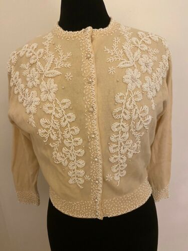 Vintage Sweater Butter Yellow Beaded Handsewn Silk