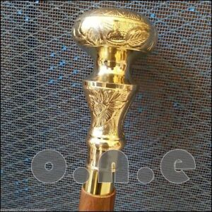 Vintage-Elegant-Brass-Designer-Handle-Wooden-Handmade-Walking-Cane-Stick-Antique