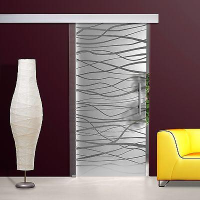 Glasschiebetür SD699-F2 Alu60 Klarglas Dekor, Griffstange Edelstahl