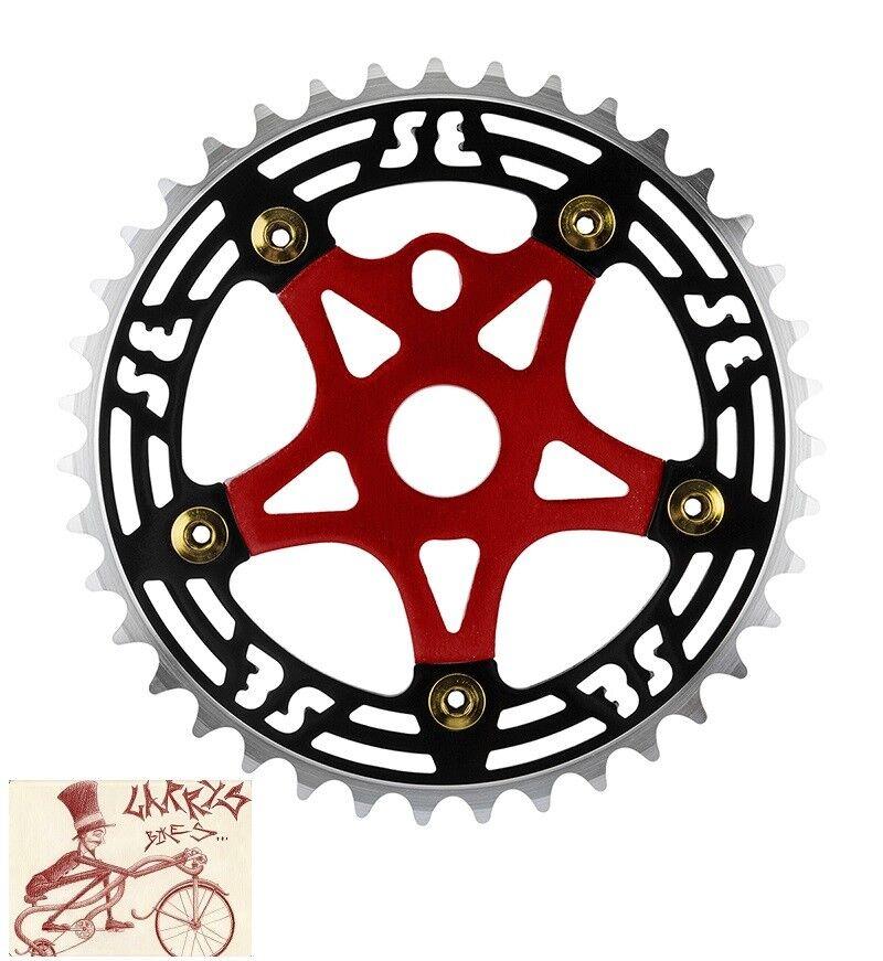 SE bicicletas de carreras de aleación 39T Negro Rojo Plato con SPIDER