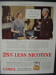 Details about 1941 Camel Cigarettes 28% Less Nicotine Full Color Page  Vintage Print Ad 12633