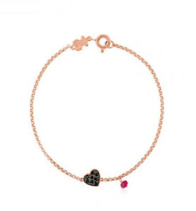 ee8e0e329 TOUS Jewelry 18k Pink Vermeil & Black Spinel Heart Bracelet with ...