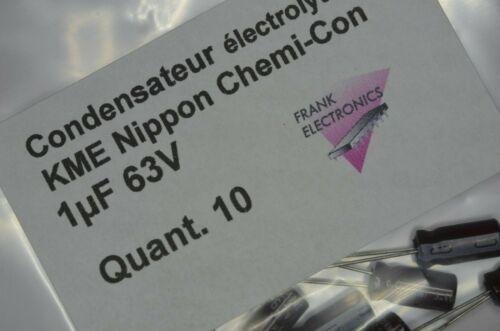 10 condensateurs polarisés 1µF 63V NIPPON CHEMI CON