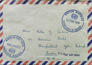 Air-Mail-Envelope-Stamped-United-Nations-Interim-Force-In-Lebanon-22-May-1979