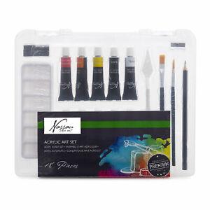 Nassau-Fine-Art-Acrylic-Paints-amp-Brush-Set-Artist-10-Tube-Presentation-Case-0702