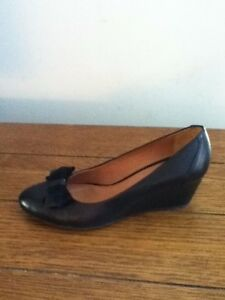 new arrivals a326b b39cb Details about Geox Respira Size 38/7.5-8 Black Leather With Bow At Toe  Wedges Heels Shoes Nice