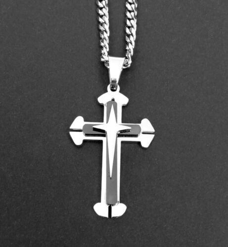Kreuzkette Edelstahl Kreuz Anhänger Königskette Panzerkette silber schwarz Herre