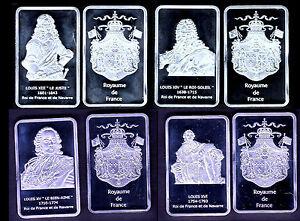 COLLECTION DE 4 LINGOTS PL. ARGENT : LOUIS XIII, XIV, XV, XVI - France - EBay MAGNIFIQUE COLLECTION DE 4 LINGOTS PLAQUES ARGENT REPRESENTANT LES ROIS BOURBONS DE LOUIS XIII A LOUIS XVI En Parfait état, chaque lingotin sous capsule plastifiée mesure 44mm28mm3mm Chaque lot est composé 4 lingots plaqués argent de : - - France