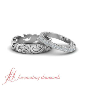 Details About Antique Looking Cheap Wedding Rings Sets For Him And Her In Solid 14k White Gold