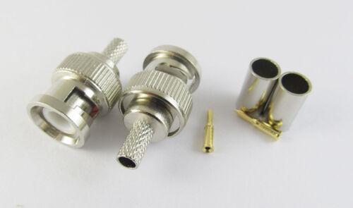 100x 3 Piece BNC Male Plug Crimp RG58 RG142 RG400 LMR195 RG223 Coaxial Connector