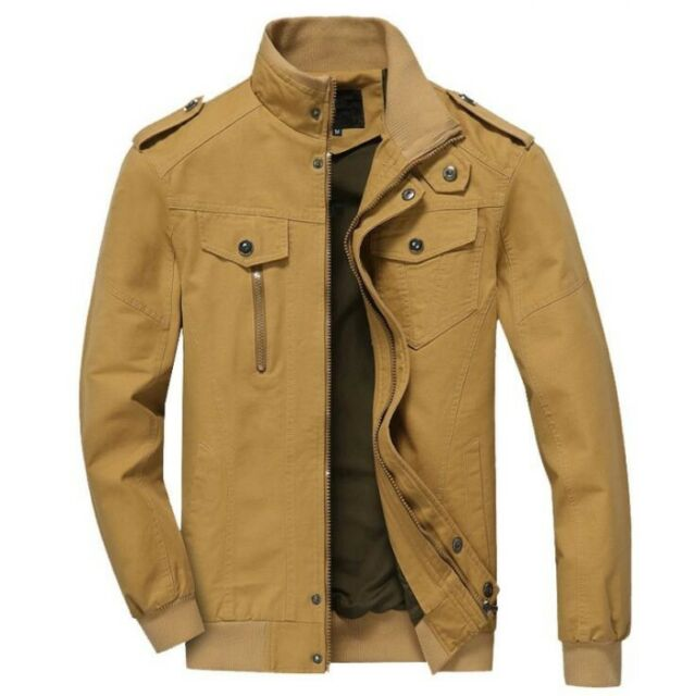 8b35b723f Mens Cotton Zip Up Bomber Jacket Stand Collar Casual Coat Outdoor Military  Coats