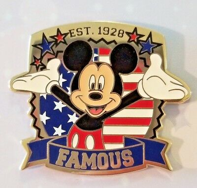 DISNEY PIN Mickey Mouse With American Flag Jerry Leigh