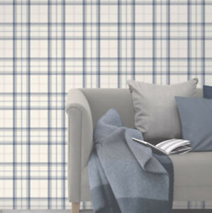 Image Is Loading Blue White Silver Plaid Wallpaper Tartan Chequered Classic