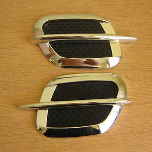 2-Caches-grilles-prises-d-039-air-ailes-laterales-CHROME-et-Noir-UNIVERSEL