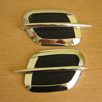 2 x Side Wing Air Flow Intake Vent Trim Fender Grill Universal in Chrome