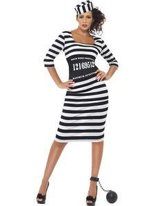 NEW-Classy-Convict-Ladies-Prisoner-Fancy-Dress-Sexy-Halloween-Costume