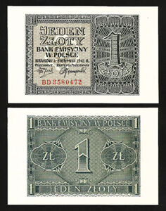 POLAND 2 ZLOTE GERMANY OCCUPATION 1941 P 100 AUNC ABOUT UNC