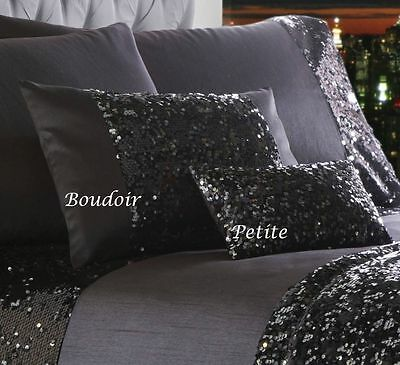 LUXURY CHARCOAL SILVER SEQUINED BLING DUVET COVER BED SET RUNNER OR CUSHION