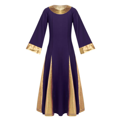 Metallic Girls Spirit Praise Robe Dress Liturgical Dance Celebration Costume