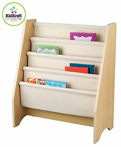 KidKraft Natural Wooden 4 Tier Canvas Sling Bookshelf 14221