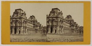 Il-Louvre-Parigi-Francia-Foto-Stereo-L6n53-Vintage-Albumina-c1870