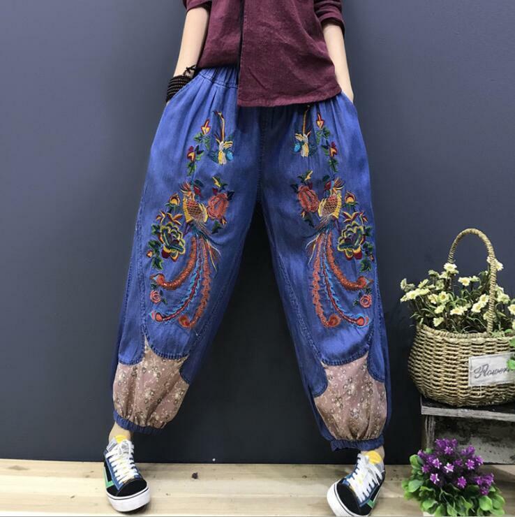 Women Ethnic Style Floral Embroidery Harem Pants Elastic Waist Denim Pants Loose