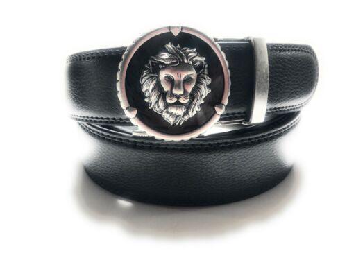 MENS DESIGNER BELTS 35 MM AUTOMATIC BLACK LEATHER BELT FOR MEN LION HEAD ROAR UK