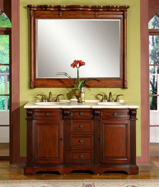 58 Inch Marble Stone Top Bathroom Double Sink Vanity Lavatory Cabinet 0197cm For Sale Online Ebay