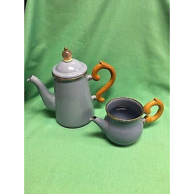 MacKenzie-Childs Teapot & Creamer Pitcher Wood Handle Victoria and Richard Blue