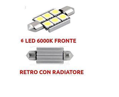 LAMPADA SILURO BIANCA CANBUS 6 SMD LED NO ERRORE TARGA POSIZIONE 36 mm 6000K