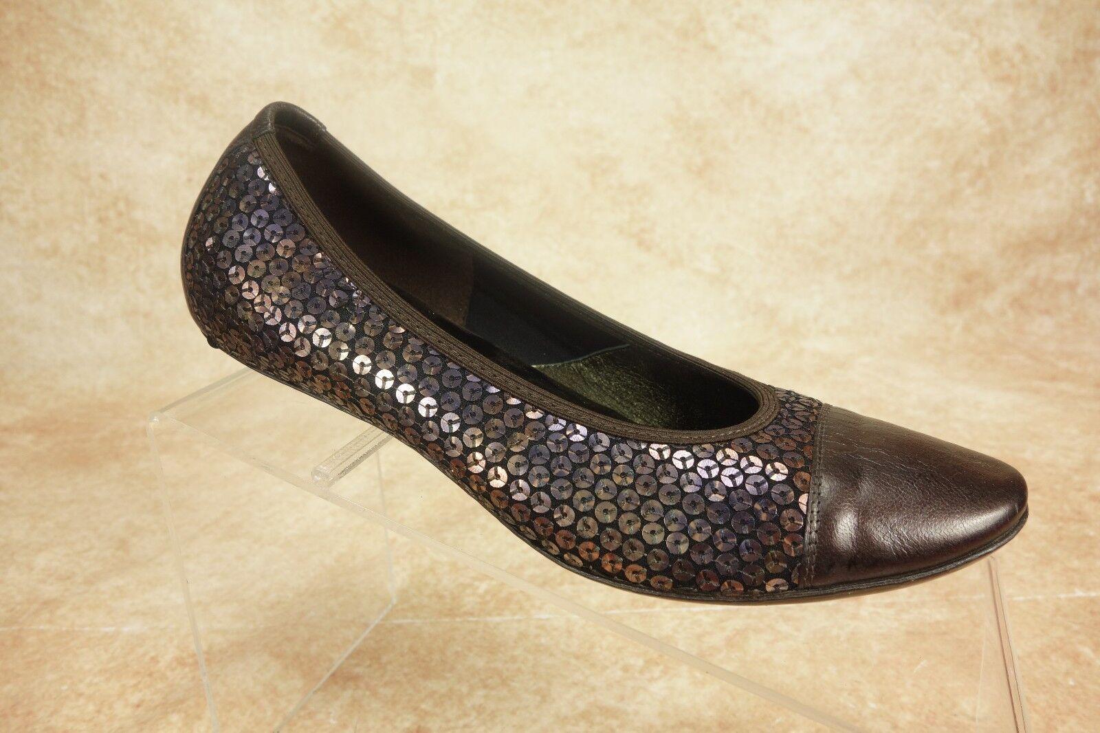 Donald J Pliner Bronze Purple Sequined Captoe Ballet Flats shoes Womens Sz 5.5M