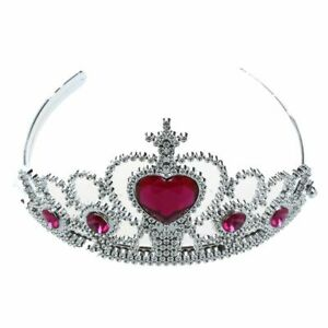 Woman-Party-Crown-Plastic-Red-Heart-Round-Rhinestone-Headband-Hair-Band-Z3Z6