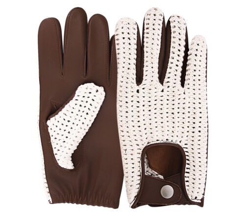 Classic English Leather Driving Gloves Crochet String Chauffeur Vintage fashion