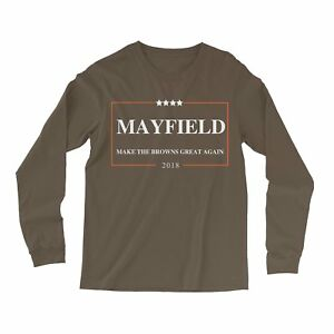 timeless design b0d1d 14919 Details about Baker Mayfield 2018 longsleeve shirt, Make the BROWNS Great  Again LS Shirt