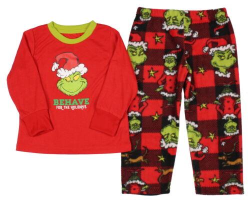 Dr Seuss Boys/' The Grinch Behave Fleece Pajama Sleep Set