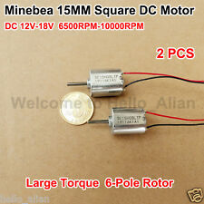 2pcs Minebea 15mm15mm Mini Square Motor Dc12v Mute Large Torque 6 Pole Rotor