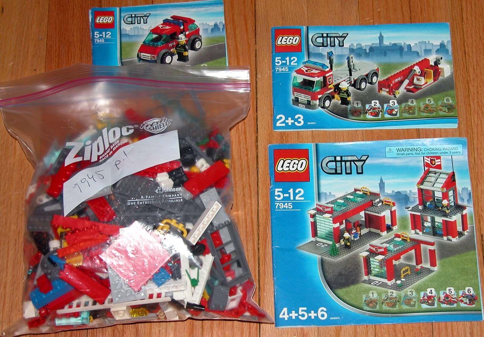 LEGO 7945 CITY CITY CITY FIRE STATION COMPLETE ef22ca