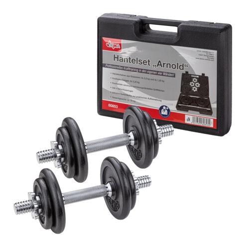 im Koffer 4 Scheiben Home Gym 2x 10 KG = 20 kg Hantelset Hantelsatz Gusseisen