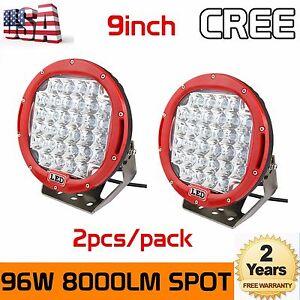 2X-9inch-96W-Round-Cree-LED-Driving-Spot-Lights-UTV-TRUCK-4x4-OffRoad-Watts-Red