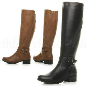 Womens ladies low heel zip stretch elastic gusset knee high riding boots size