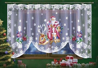 Finestre Dipinte Di Natale Babbo Natale Decorazione Stagionale Netto Sipario 300cmx150cm- L'Ultima Moda